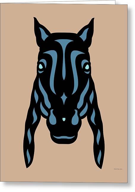 Horse Face Rick - Horse Pop Art - Hazelnut, Niagara Blue, Island Paradise Blue Greeting Card by Manuel Sueess