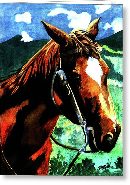 Race Horse Greeting Cards - Horse Greeting Card by Farah Faizal