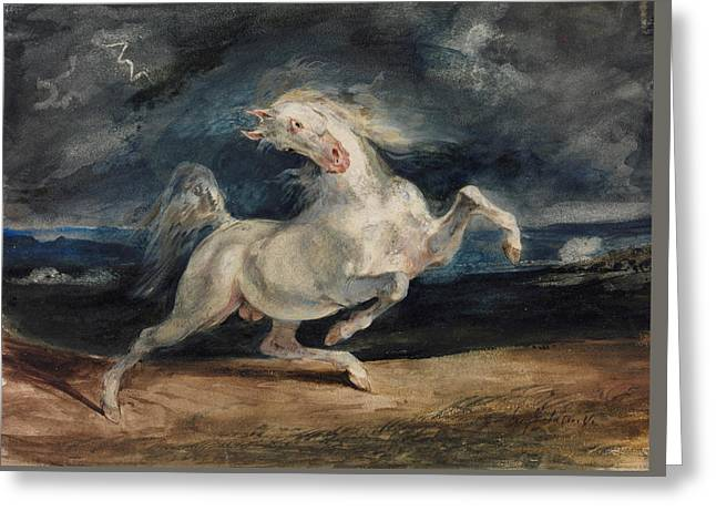 Horse Frightened By Lightning  Greeting Card by Eugene Delacroix