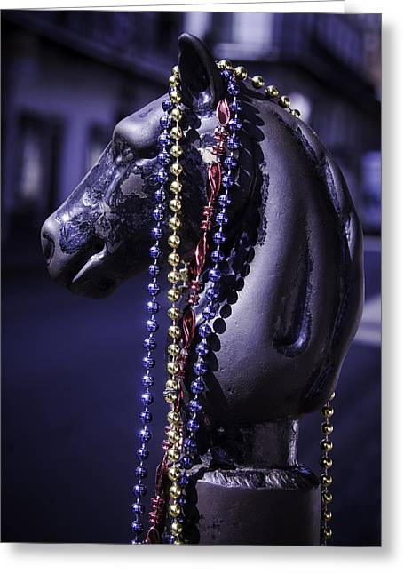 Rue Bourbon Greeting Cards - Horse Head Hitching Post Greeting Card by Garry Gay