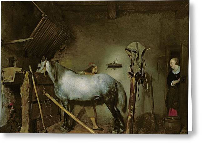 Seventeenth Greeting Cards - Horse in a Stable Greeting Card by Gerard Terborch