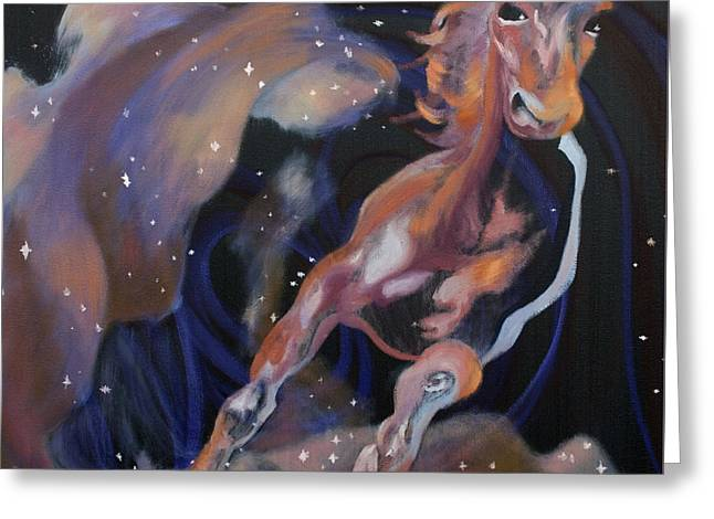 Race Horse Greeting Cards - Horse in Stars Greeting Card by Laura Ungs