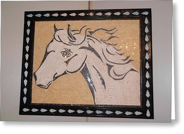 Mosaic Reliefs Greeting Cards - Horse in stone mosaic Greeting Card by Petrit Metohu