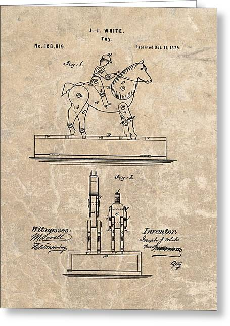 Belmont Stakes Greeting Cards - Horse Jockey Toy Patent Greeting Card by Dan Sproul