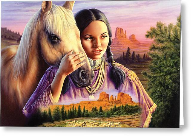 Female Friendship Greeting Cards - Horse Maiden Greeting Card by Andrew Farley