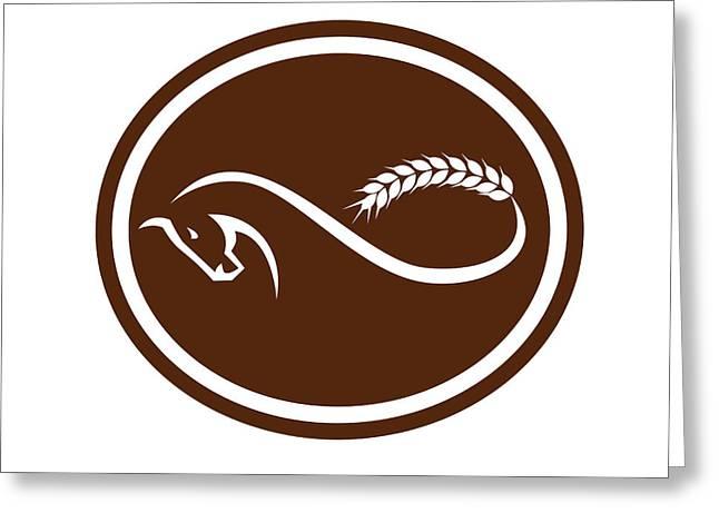 Horse Malt Tail Mobius Strip Oval Retro Greeting Card by Aloysius Patrimonio