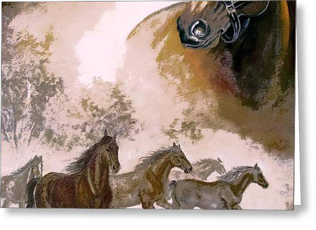 Horse Painting A dream of running wild Greeting Card by Gina Femrite