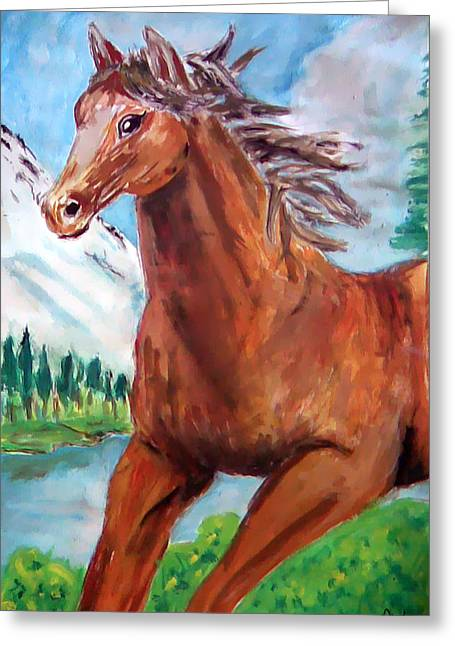Etc. Paintings Greeting Cards - Horse Painting Greeting Card by Bekim Axhami