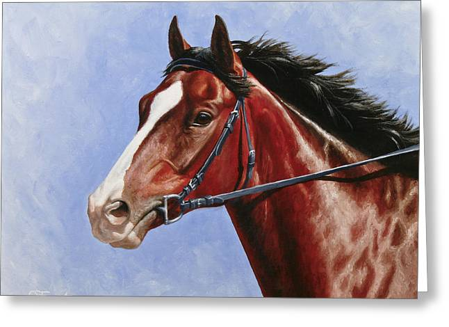 Race Horse Greeting Cards - Horse Painting - Determination Greeting Card by Crista Forest