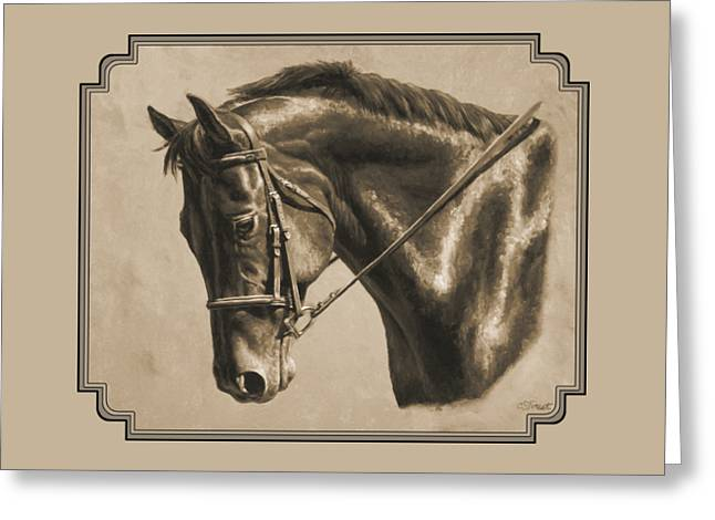 Chestnut Horse Greeting Cards - Horse Painting - Focus In Sepia Greeting Card by Crista Forest