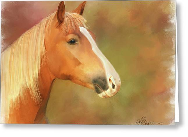 Horse Painting Greeting Card by Michael Greenaway