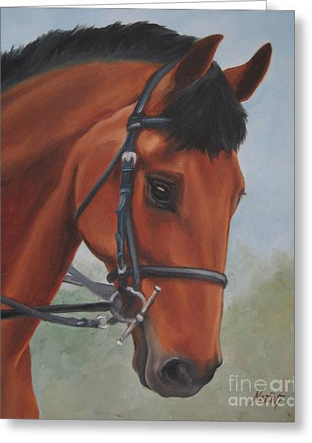 Horse Portrait Greeting Card by Jindra Noewi