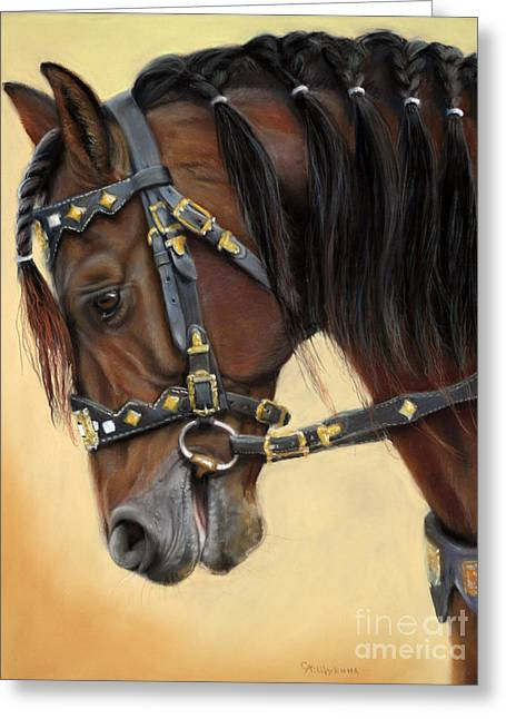 Pastel Greeting Card featuring the painting Horse Portrait  by Svetlana Ledneva-Schukina
