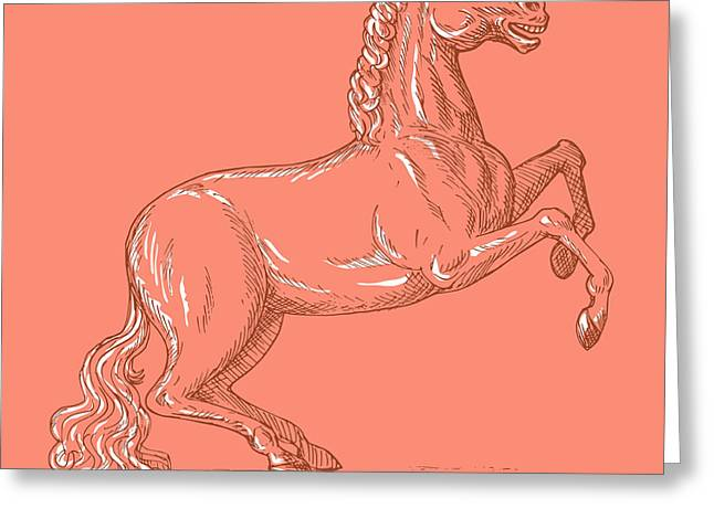 Full Body Digital Art Greeting Cards - Horse Prancing Greeting Card by Aloysius Patrimonio