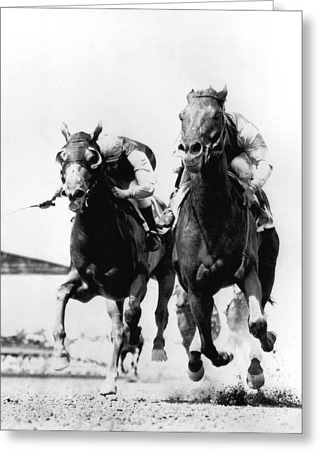 Horse Race At Gulfstream Track Greeting Card by Underwood Archives