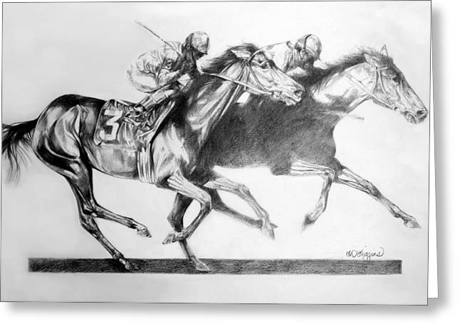 Race Horse Drawings Greeting Cards - Horse Race Greeting Card by Derrick Higgins