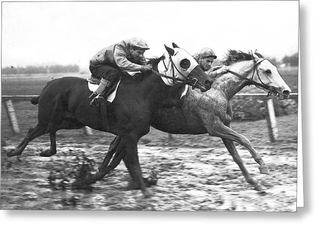 Race Horse Greeting Cards - Horse Race In Los Angeles Greeting Card by Underwood Archives