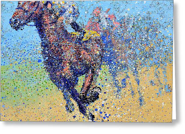 Horse Race On Blue Greeting Card by Michael Glass