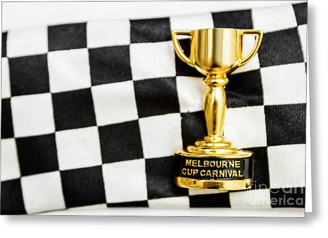 Horse Races Trophy. Melbourne Cup Win Greeting Card by Jorgo Photography - Wall Art Gallery