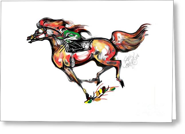 Horse Racing In Fast Colors Greeting Card by Stacey Mayer