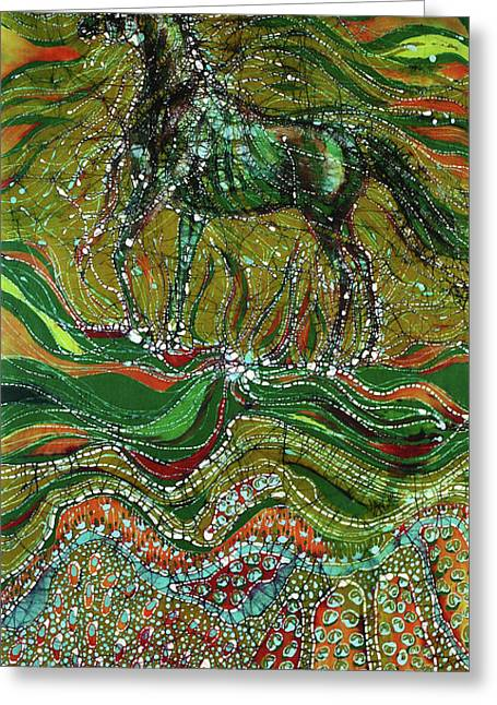 Equine Tapestries - Textiles Greeting Cards - Horse Rises From The Earth Greeting Card by Carol Law Conklin