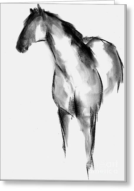 Contemporary Abstract Pastels Greeting Cards - Horse Sketch Greeting Card by Frances Marino