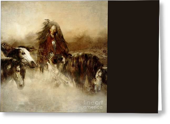 Native American Woman Greeting Cards - Horse Spirit Guides Greeting Card by Shanina Conway