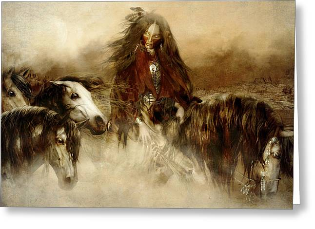 Native American Illustration Greeting Cards - Horse Spirit Guides Greeting Card by Shanina Conway
