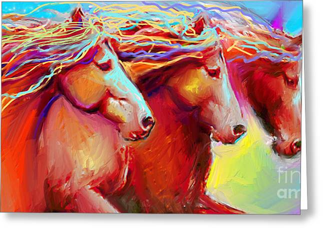 Contemporary Equine Greeting Cards - Horse Stampede painting Greeting Card by Svetlana Novikova