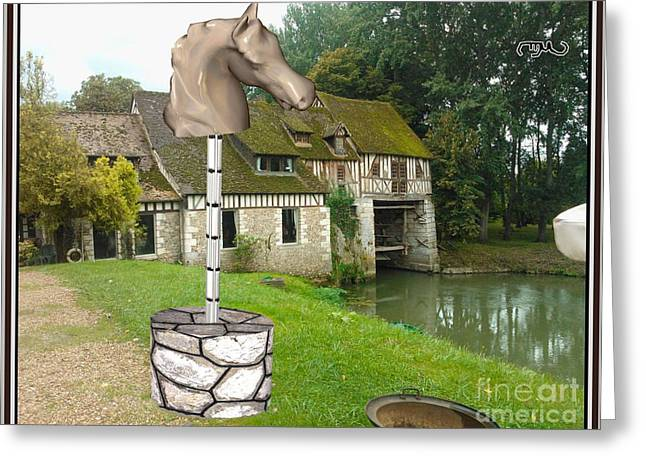 Digital Sculptures Greeting Cards - Horse statue HS1 Greeting Card by Pemaro