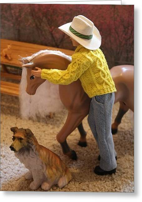 Dog Sweaters Greeting Cards - Horse Whisperer Greeting Card by Christine Ward