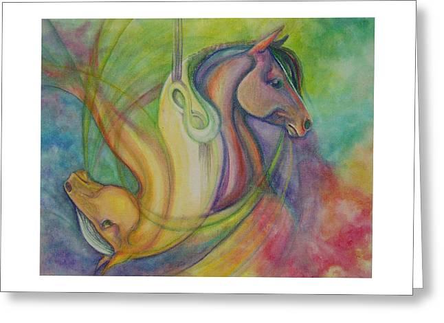 Yang Greeting Cards - Horsehead Jojo Greeting Card by Caroline Czelatko