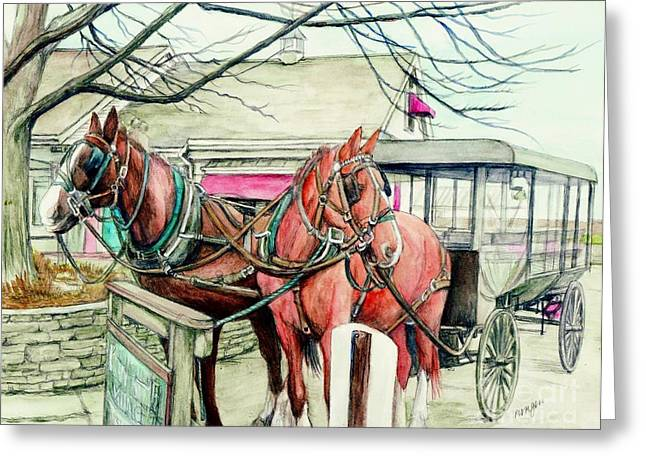 Amish Scenes Greeting Cards - Horses and Carriage from Intercourse Pensylvania Greeting Card by Morgan Fitzsimons