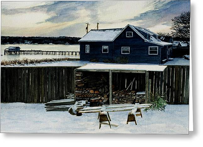 Penn Cove Greeting Cards - Horses and Woodshed Greeting Card by Perry Woodfin