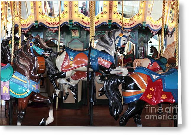 Horse Images Greeting Cards - Horses at Santa Monica Greeting Card by John Rizzuto