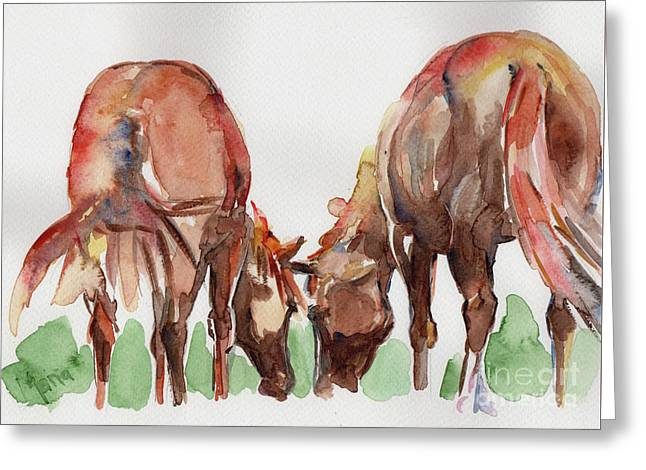 Horses Grazing Greeting Card by Maria's Watercolor