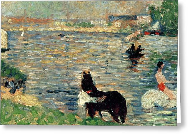 Horses In A River Greeting Card by Georges Pierre Seurat