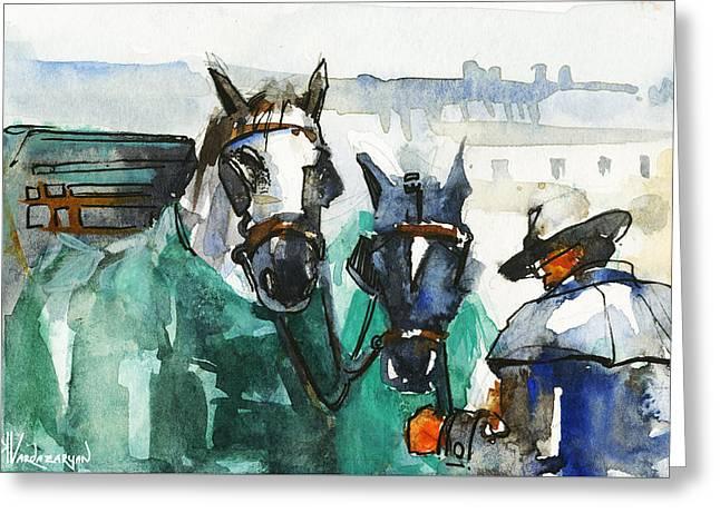 Horses Greeting Card by Kristina Vardazaryan
