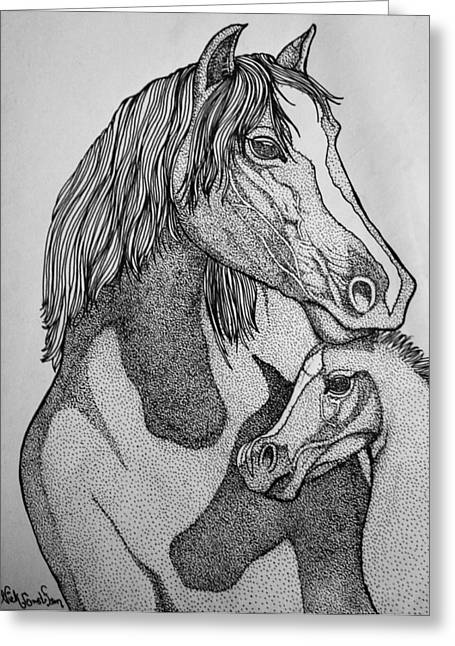 Horses Greeting Card by Nick Gustafson
