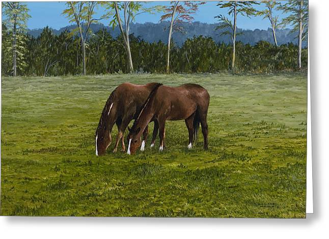 Horses Of Romance Greeting Card by Mary Ann King