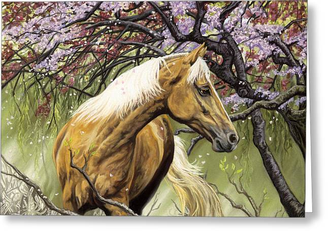 Cherry Blossoms Pastels Greeting Cards - Horses of the Four Seasons - Spring Greeting Card by Kim McElroy