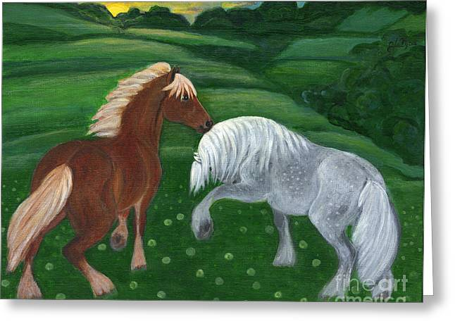 Horses Of The Rising Sun Greeting Card by Anna Folkartanna Maciejewska-Dyba