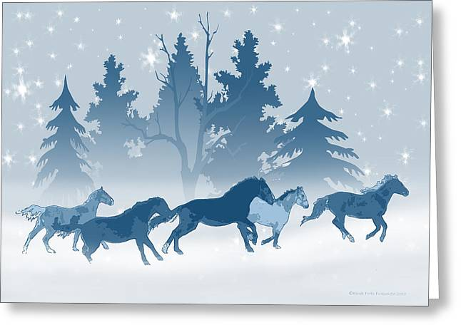 Horse Herd Greeting Cards - Horses on a Snowy Winter Evening Greeting Card by Renee Forth-Fukumoto