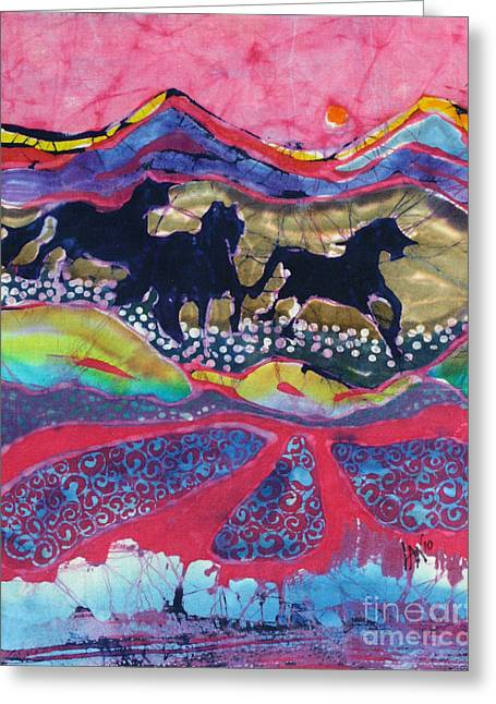 Bright Tapestries - Textiles Greeting Cards - Horses Running Thru a Stream Greeting Card by Carol  Law Conklin