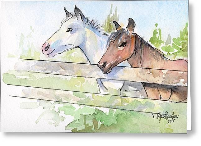 Barn Mixed Media Greeting Cards - Horses Watercolor Sketch Greeting Card by Olga Shvartsur