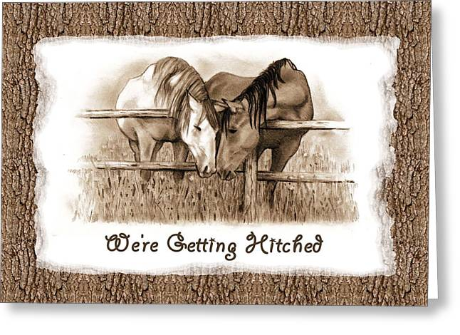 Joyce Geleynse Greeting Cards - Horses Western Wedding Invitation Getting Hitched Greeting Card by Joyce Geleynse
