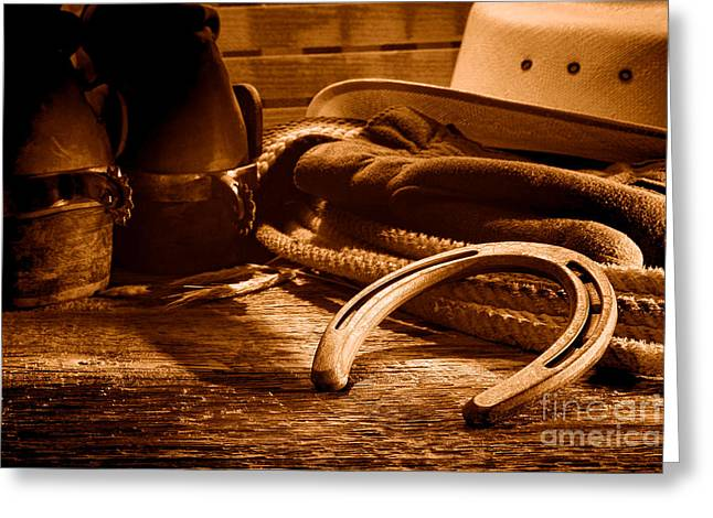 Horseshoe And Cowboy Gear - Sepia Greeting Card by Olivier Le Queinec