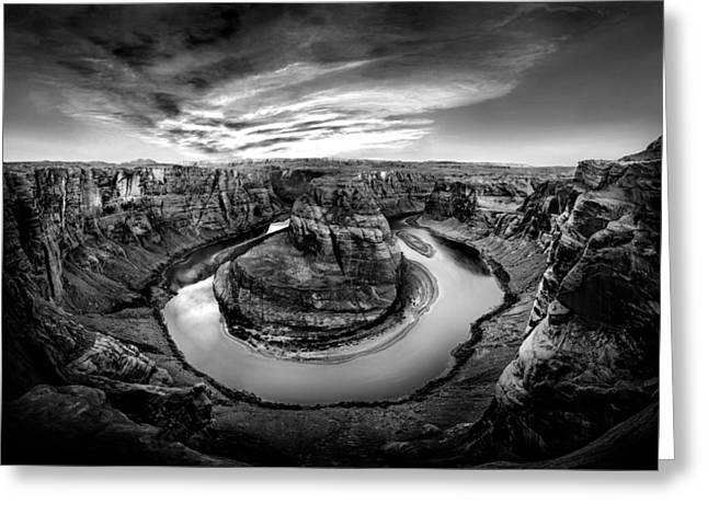 Horseshoes Greeting Cards - Horseshoe Bend BW Greeting Card by Az Jackson