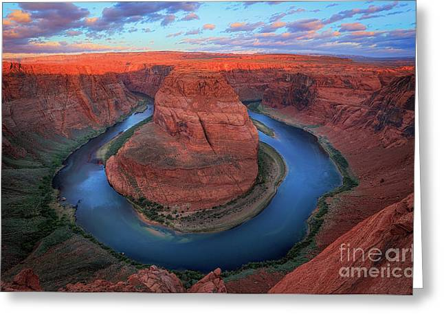 Horseshoe Bend Sunrise Greeting Card by Inge Johnsson