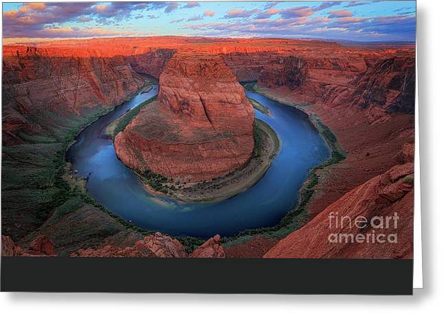 Eroded Greeting Cards - Horseshoe Bend Sunrise Greeting Card by Inge Johnsson
